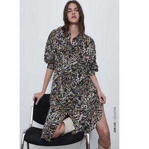 Linen Animal Print Shirt Dress XS 2540/149